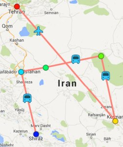"Recorrido de la ruta ""Explorar Irán"""